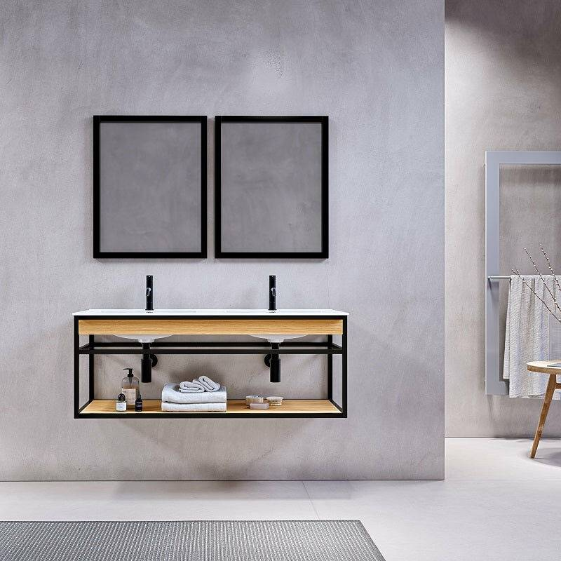STANO. Meuble salle de bain suspendu PURE 120 cm en métal noir avec double vasque blanche - Noir