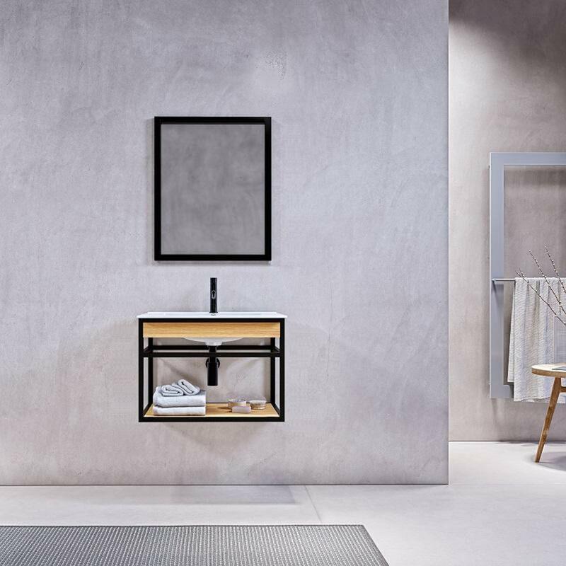STANO. Meuble salle de bain suspendu PURE 60 cm en métal noir avec vasque céramique blanche - Noir