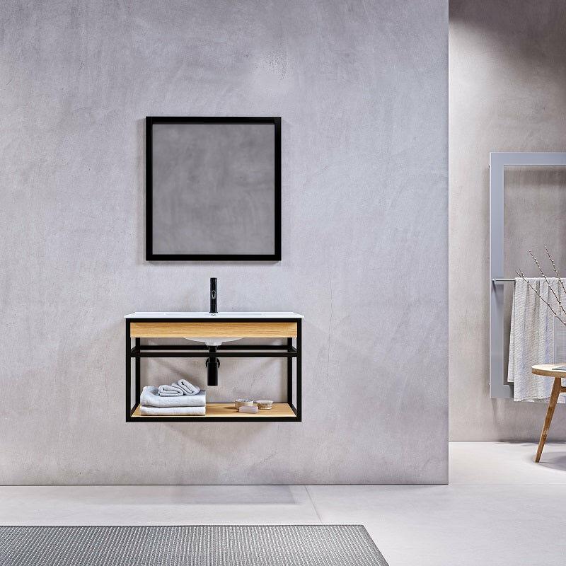 Stano. - Meuble salle de bain suspendu PURE 80 cm en métal noir avec vasque céramique blanche - Noir