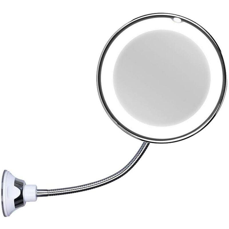 Zqyrlar - Miroir cosmétique avec col de cygne, grossissement 10x, éclairé par LED, avec ventouse puissante, orientable à 360 degrés, lumière du jour,