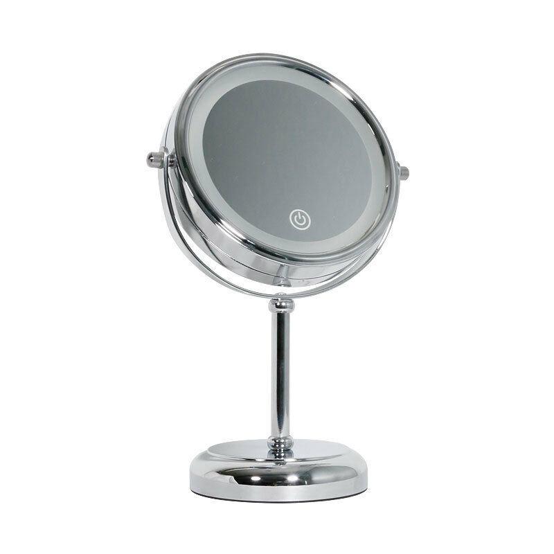 Thsinde - Miroir cosmétique avec éclairage LED - miroir sur pied miroir - miroir de maquillage illuminé 360 ° rotatif en argent