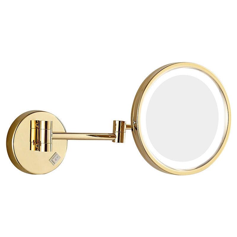 Thsinde - Miroir cosmétique avec lumière grossissante x 10, miroir de maquillage avec éclairage LED, grand miroir mural, bras flexible à 360°, 8,5
