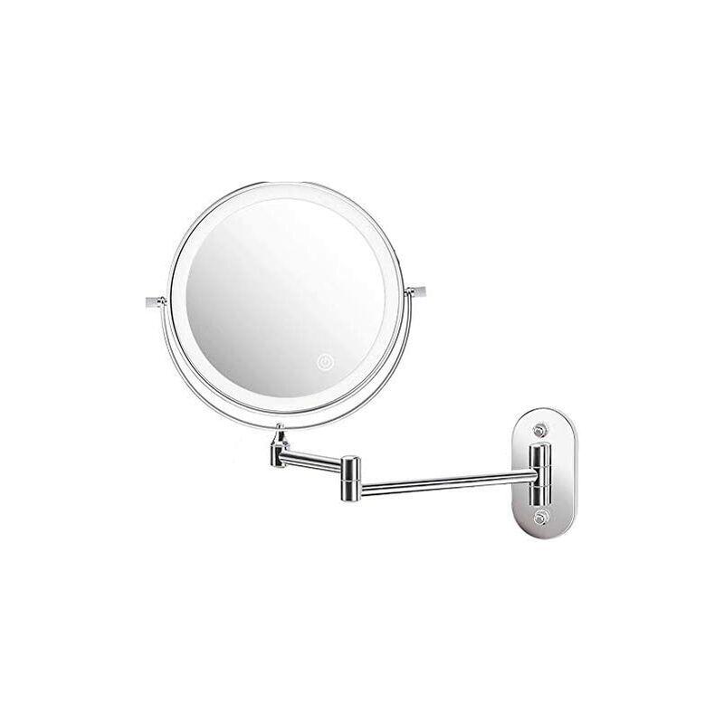 Zqyrlar - Miroir cosmétique LED ZEPHBRA illuminé avec un grossissement 1X/5X, miroir de maquillage à intensité variable avec interrupteur tactile,