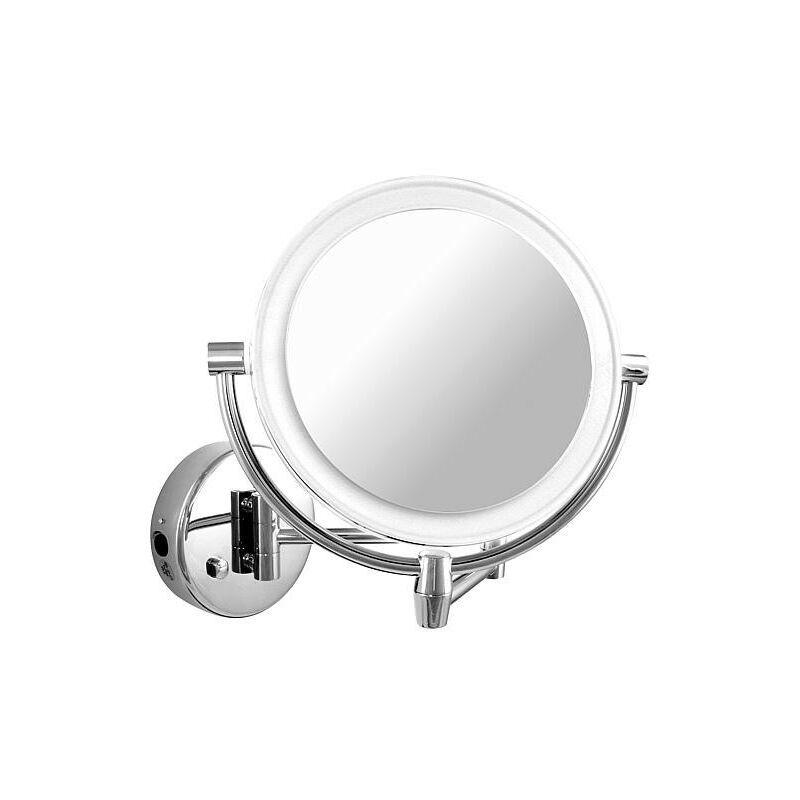 Banyo - Miroir cosmetique mural Eliam avec éclairage, 1-5 grossissement diam 192/156 mm