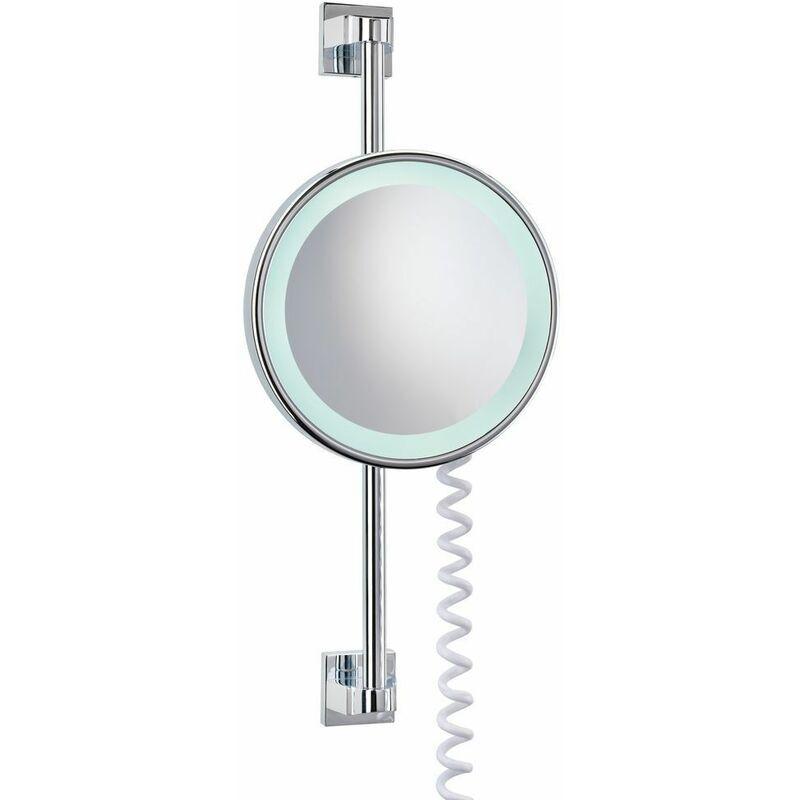 SOTIN Miroir cosmétique à LED agrandissement 5 fois avec barre murale