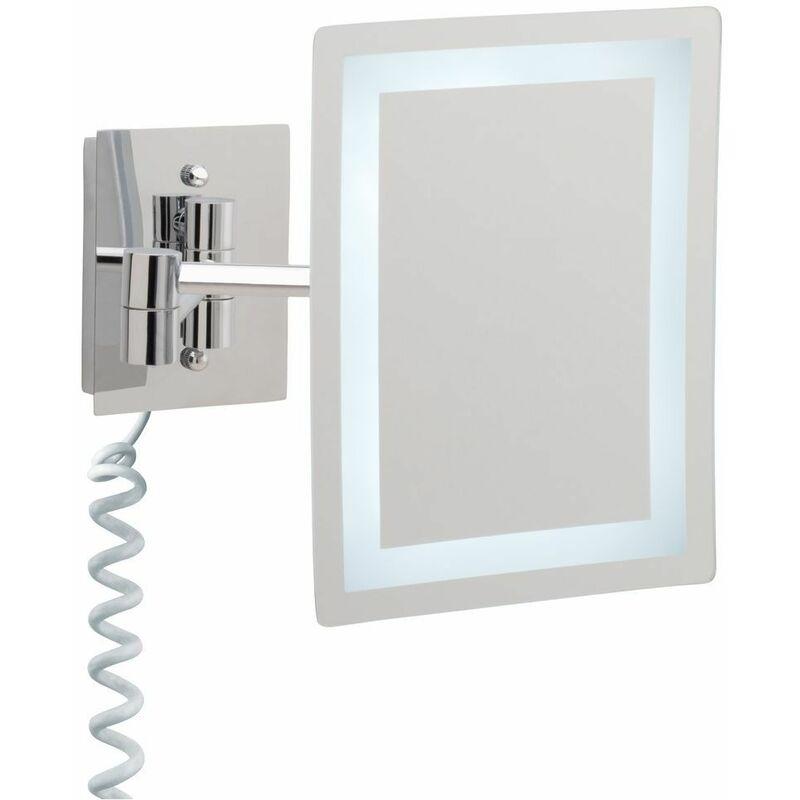 LE SANITAIRE Miroir cosmétique à LED agrandissement 5 fois rectangulaire avec bras articulé