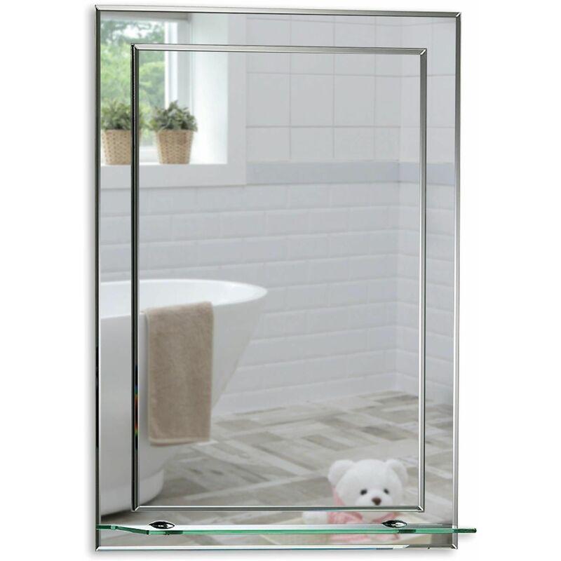 MOOD Magnifique Miroir de Salle de Bain rectangulaire avec étagère, Moderne et élégant, Double Couche de Verre, taillé en biseau (50cm x 40cm) - Argent
