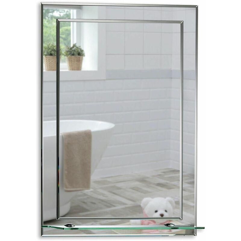 MOOD Magnifique Miroir de Salle de Bain rectangulaire avec étagère, Moderne et élégant, Double Couche de Verre, taillé en biseau (60cm x 43cm) - Argent