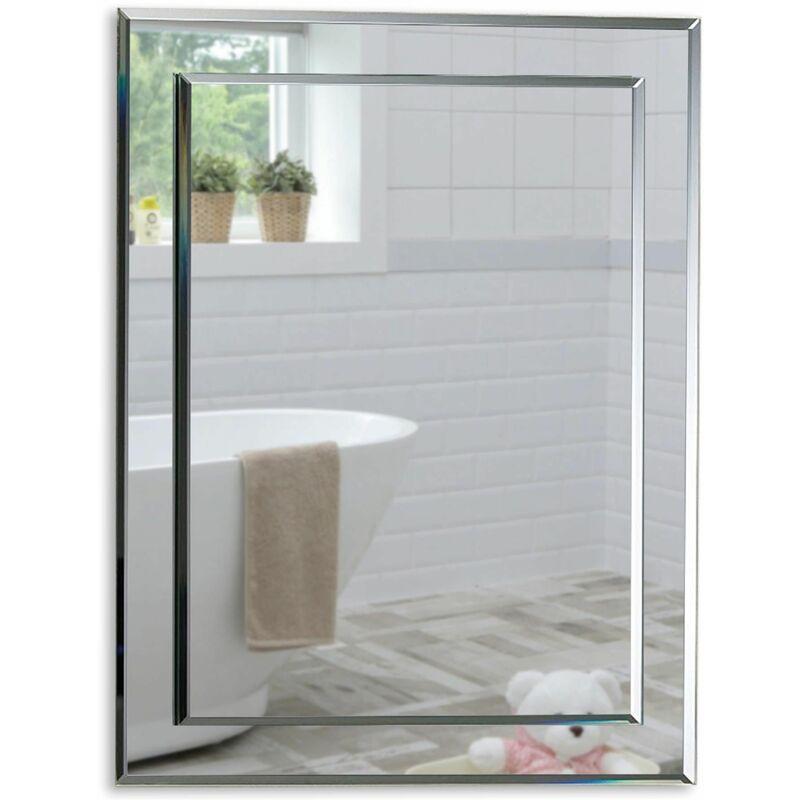 MOOD Magnifique miroir de salle de bain rectangulaire, moderne et élégant, double couche de verre, taillé en biseau, mural 50 cm x 40 cm - Argent - Mood