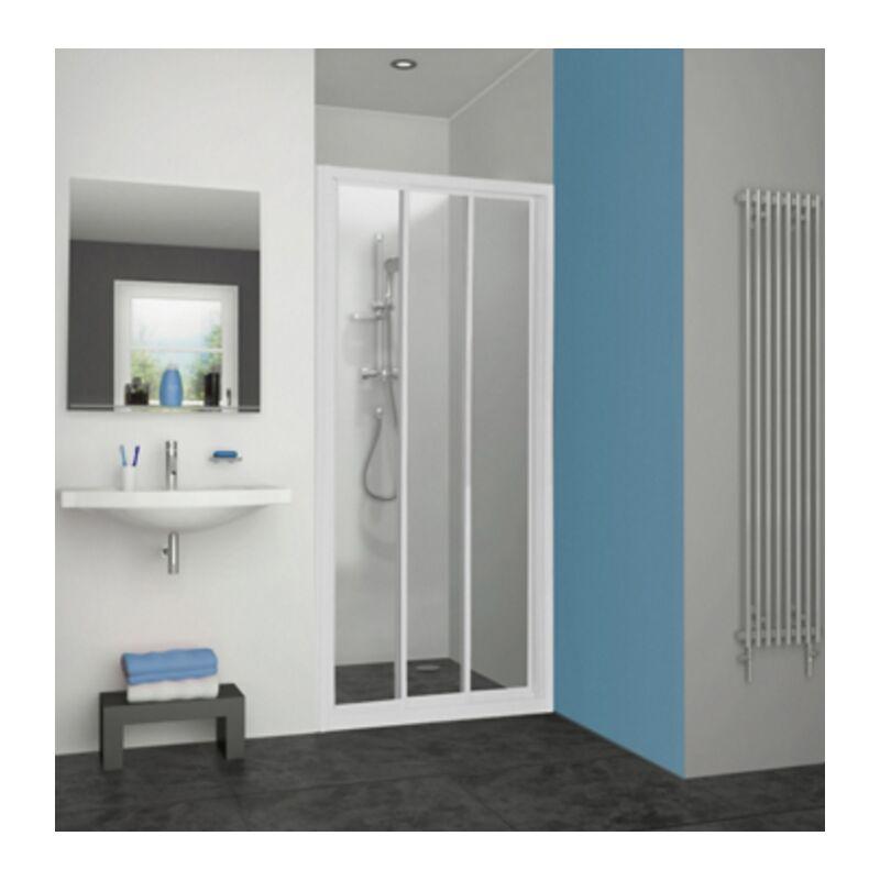 Aquance - Porte de douche Pyra acces de face coulissante profil blanc verre transparent
