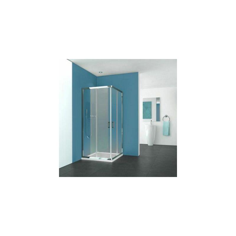 AQUANCE Porte de douche Pyra coulissante acces d'angle profil argent poli verre transparent Aquance