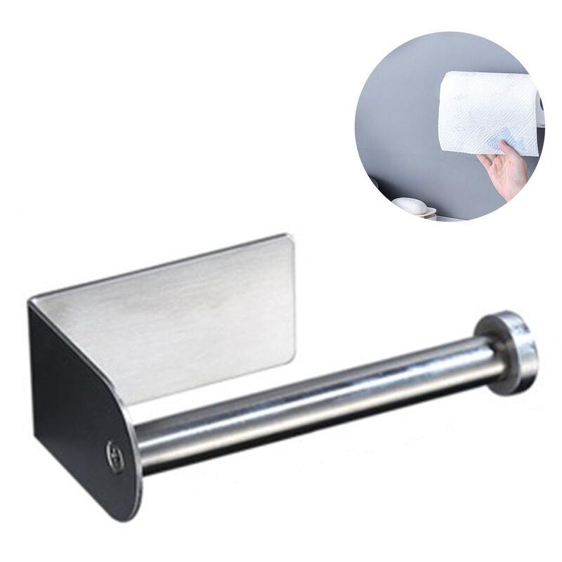 Longziming - Porte-papier hygiénique auto-adhésif Chrome, porte-papier hygiénique 3M, acier inoxydable, porte-rouleau de papier toilette sans perçage