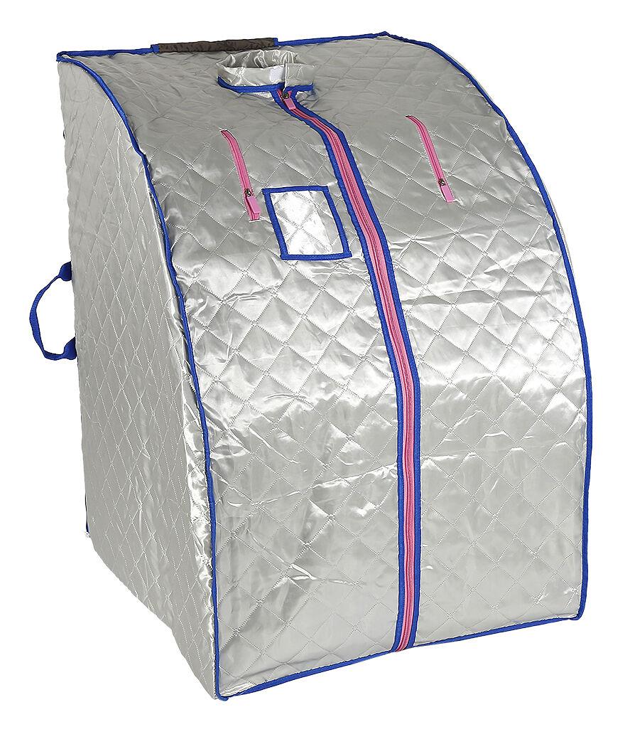 JEOBEST Sauna Box Bain de Vapeur mobile Spa Pliable Ménage à Vapeur Télécommande Température Argenté 220V Prise EU