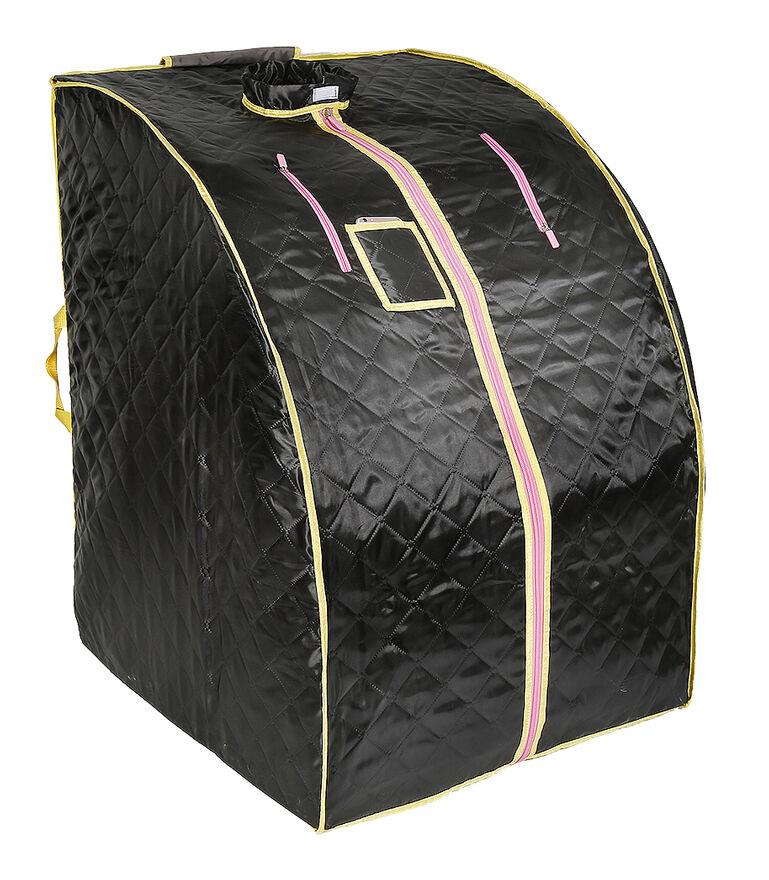 JEOBEST Sauna Box Bain de Vapeur mobile Spa Pliable Ménage à Vapeur Télécommande Température Noir 220V Prise EU