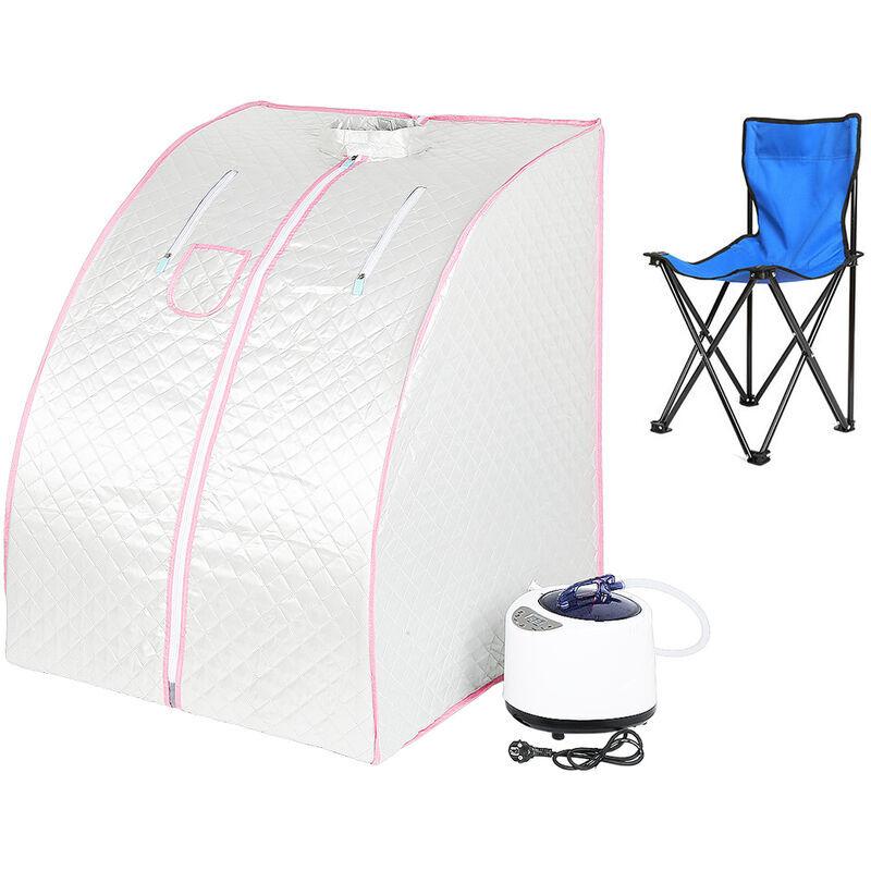 YONGQING Sauna Box Bain de Vapeur mobile Spa Pliable Ménage à Vapeur Télécommande Température Argenté 220V - Argent