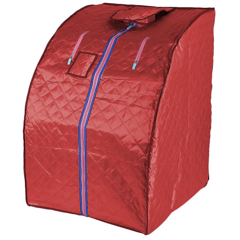YONGQING Sauna Box Bain de Vapeur mobile Spa Pliable Ménage à Vapeur Télécommande Température Rouge 220V Prise EU - Rouge