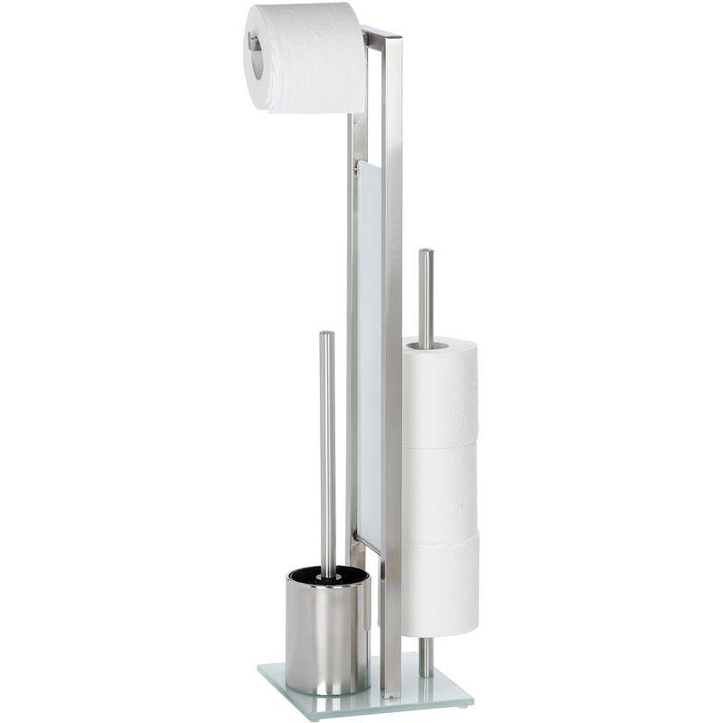 Wenko Serviteur WC Rivalta, Brosse WC et dérouleur papier toilette, Acier Inox mat