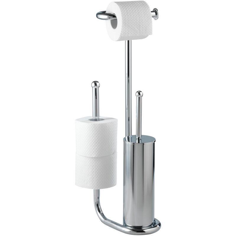 Wenko Serviteur WC, support papier toilette et brosse WC, Universalo Chrome WENKO