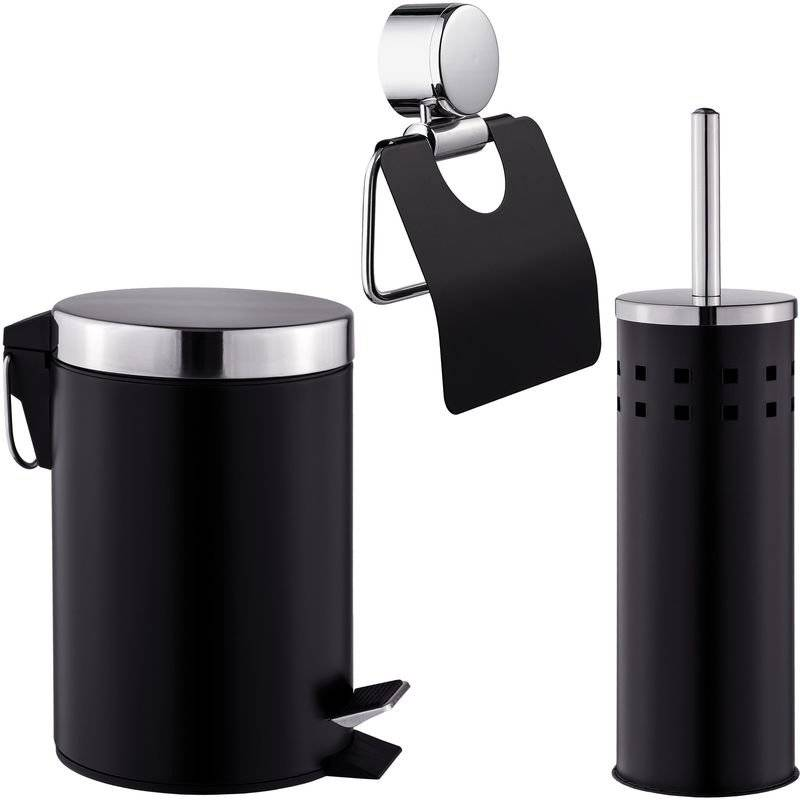 TECTAKE Set de Salle de Bain Toilettes WC Design 3 Pièces Noir: 1 Poubelle, 1 Balayette Brosse, 1 Dérouleur de Papier Toilette