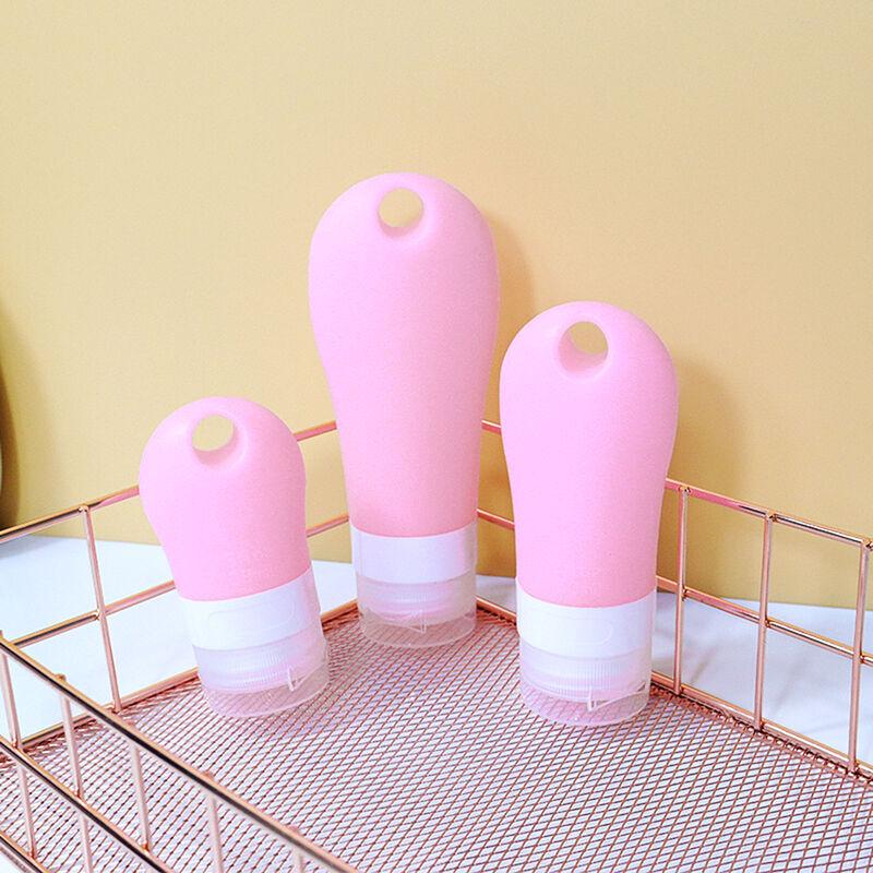 ASUPERMALL Sillicone Voyage Bouteilles Porte-Cles Desinfectant Shampooing Lotion Toilette Flip Cap Exterieur Portable Bouteille Vide, Rose 3 Pieces