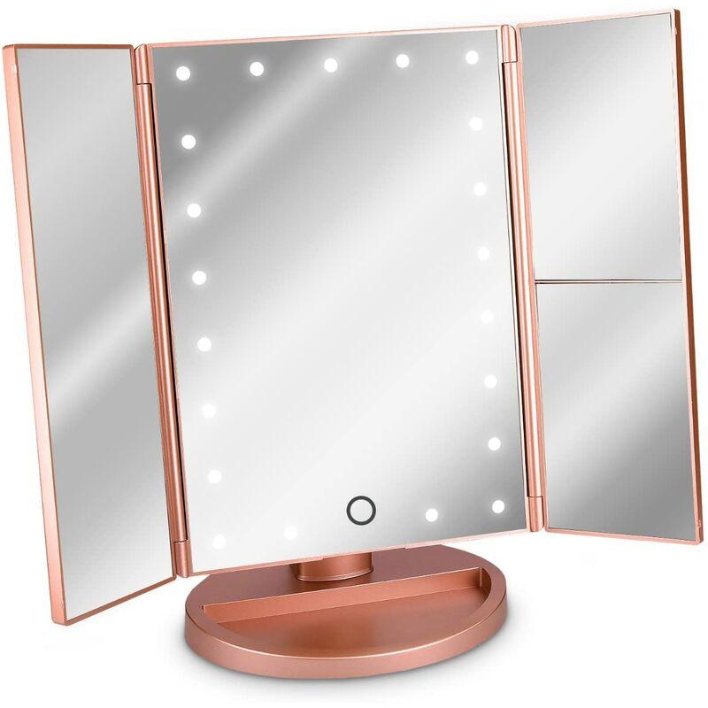 SOEKAVIA Miroir cosmétique à LED Miroir sur pied pliable - Miroir de maquillage éclairé Miroir de maquillage 2 fois Miroir grossissant 3 fois - en or