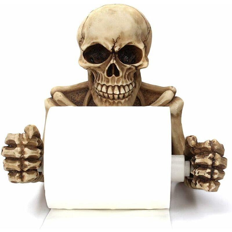 BETTERLIFE Squelette de Crânes Porte Papier Toilette Décoratif, Scary Halloween Décorations Salle de Bains mur Plaques Accessoires
