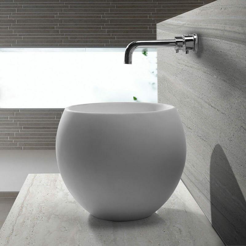 RUE DU BAIN Vasque à Poser Ronde Haute - Solid surface Blanc Mat - 40 cm - Nature