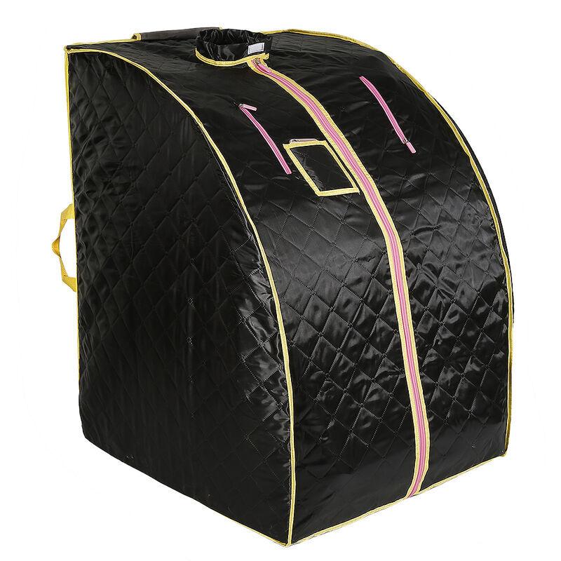 YONGQING®Sauna Box Bain de Vapeur mobile Spa Pliable Ménage à Vapeur Télécommande Température Noir 220V Prise EU - Noir