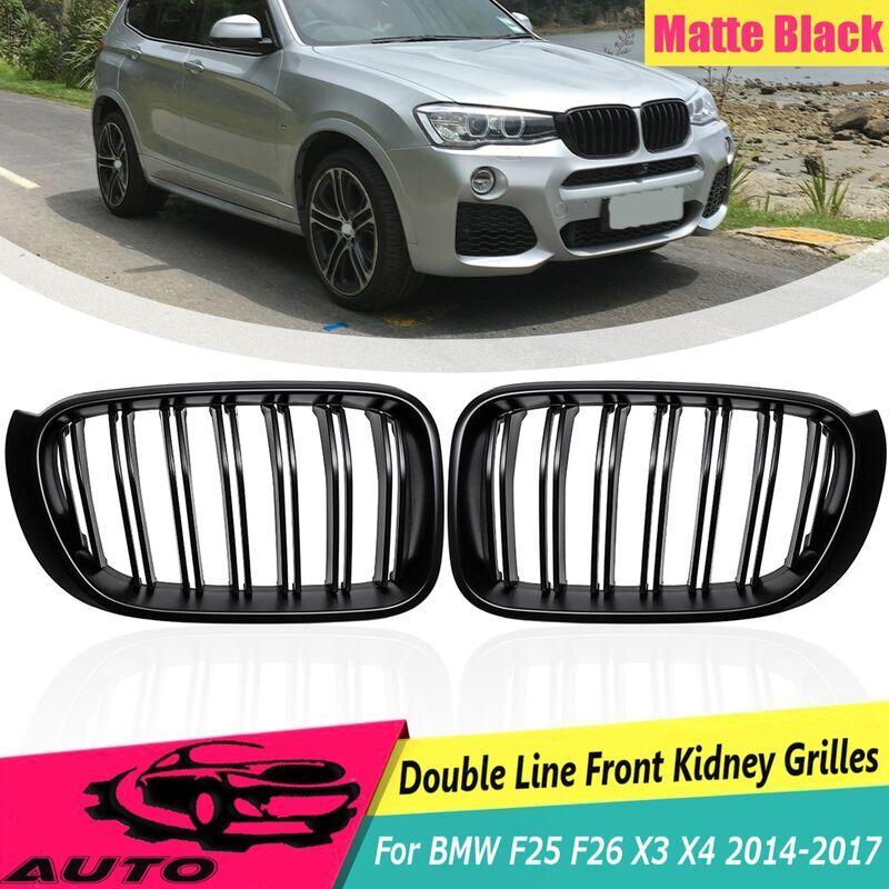 LBTN 1 paire ABS noir mat 2 lignes lattes avant gril de course gril de course pour BMW F25 F26 X3 X4 2014 2015 2016 2017