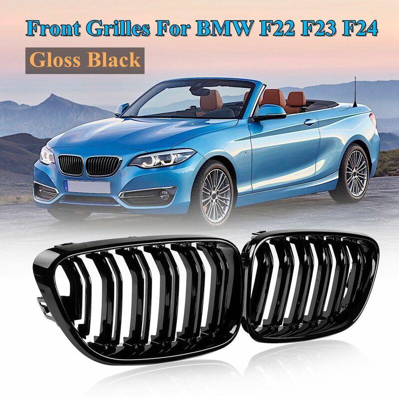 SWAGX 1 paire de pare-chocs avant 2 lignes lattes rein gril noir brillant pour BMW F22 F23 F24 série 2 2012 2013204 2015-2018 grilles de course