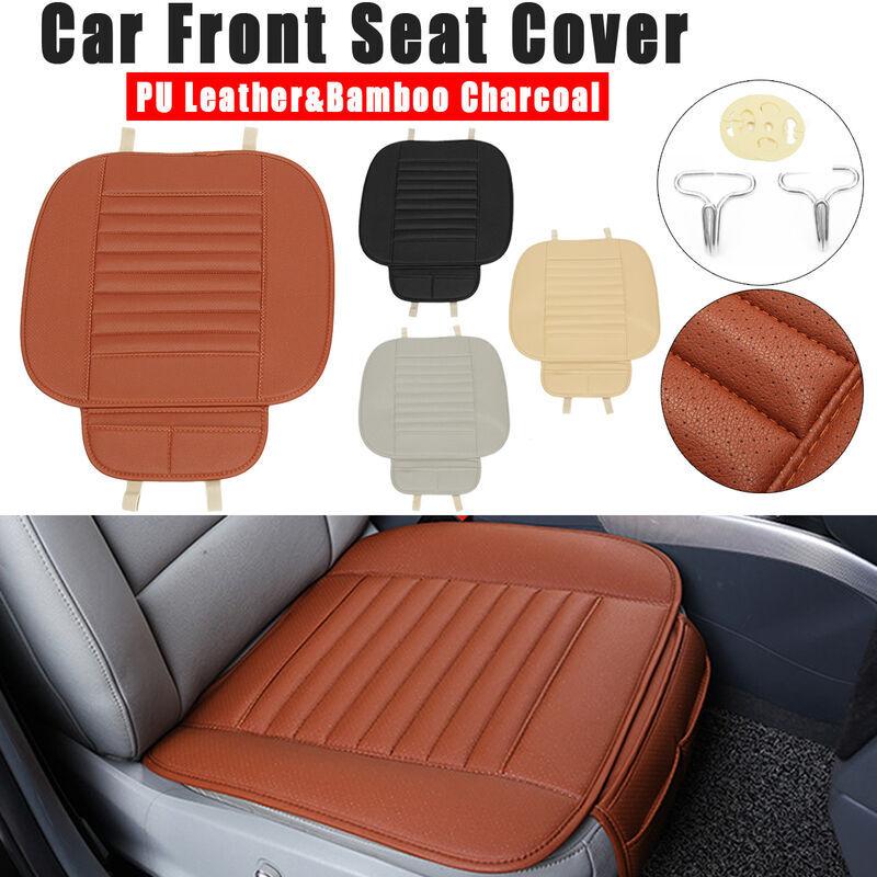 LBTN 1 pièces housse de siège avant de voiture coussin respirant en cuir PU tapis de coussin en charbon de bambou (orange, 1 pièces housse de siège avant)