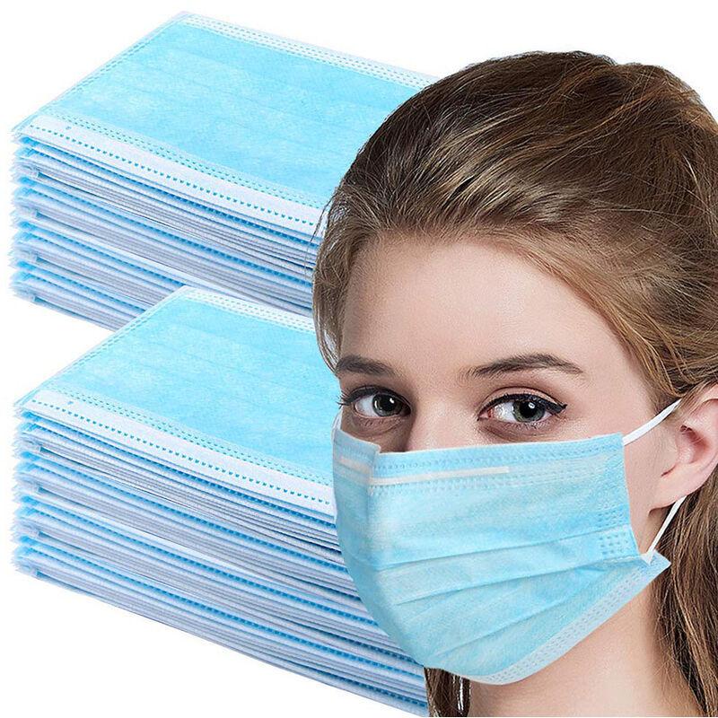 ILOVEMILAN 100pcs masques jetables Couverture 3 couches pour la protection du nez et de la bouche, élastiques, design universel et confortable, pour adultes