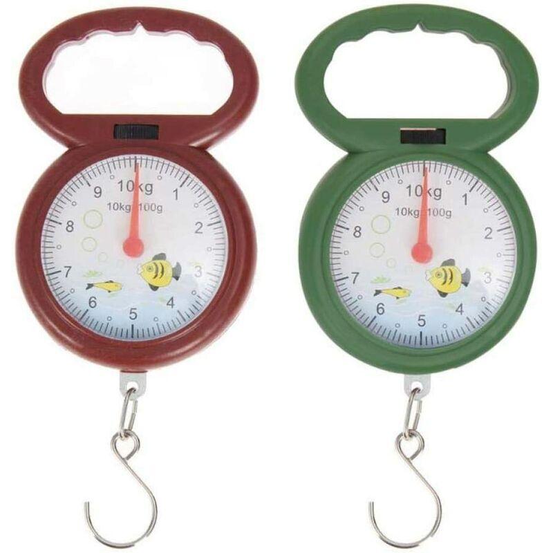 Abcrital - 2pcs Mini 10 kg Pesée Crochet Échelle de Poids pour pêche Arabe numéral pointeur de Poche Balances Balance Hanging