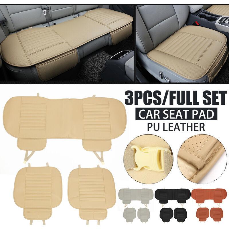 LBTN 3pcs housse de siège de voiture tapis de coussin en bambou respirant en cuir PU pour coussin de chaise automatique (beige, type 4)