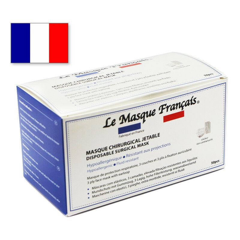EQUIPEMENTUNIVERSEL 50 Masques Chirurgicaux Jetables Blancs Fabriques en France Le Masque Français MASQUETYPEIIR