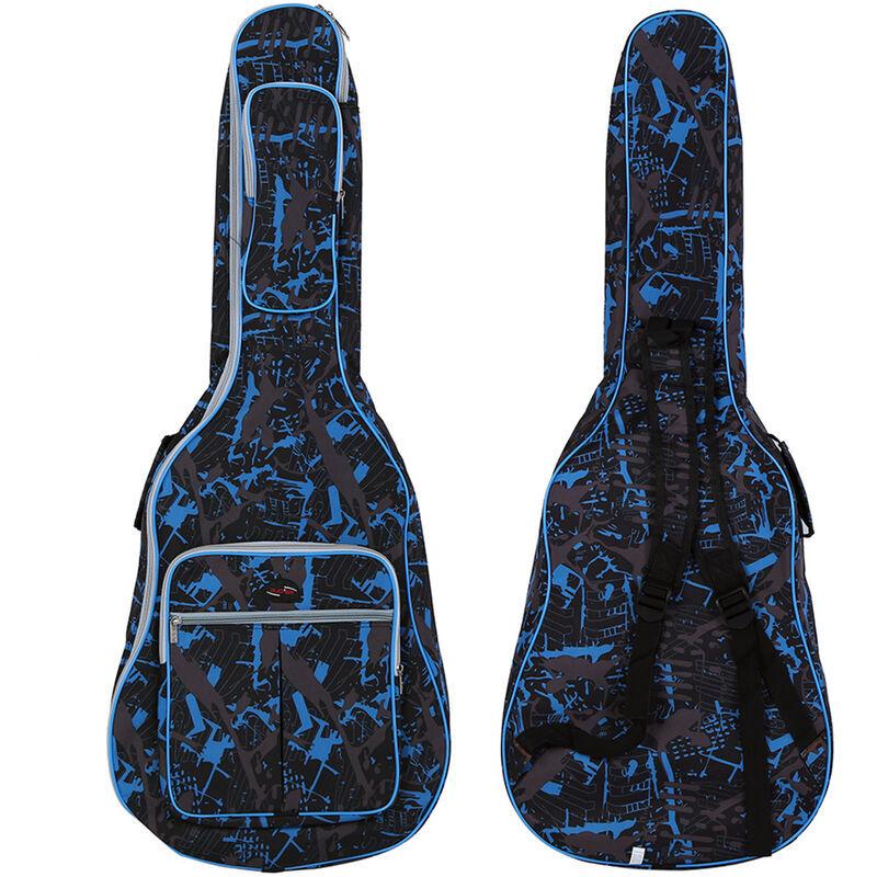 ASUPERMALL 600D Resistant A L'Eau Oxford Tissu Camouflage Bleu Double Cousu Bretelles Couses Sac De Gigogne Casse A Guitare Pour 40 Pouces Acoustique Classic