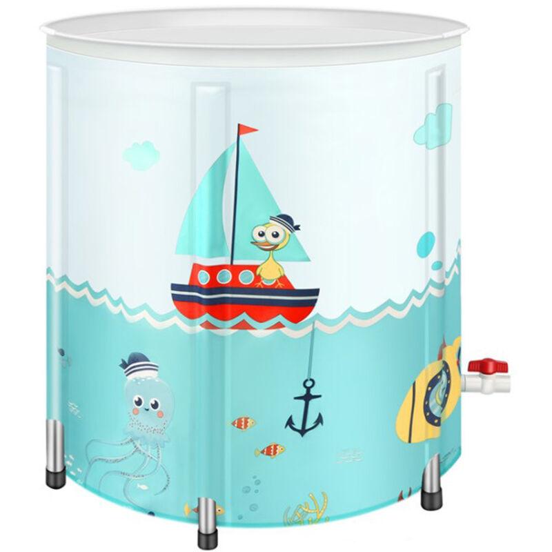 SIFREE 80*80cm PVC Baignoire Portable Eau Tube Adulte Spa Bain Seau Pliable Extérieur