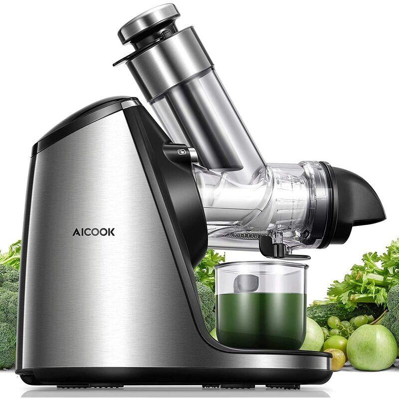 AICOK Extracteur de jus lent, presse-agrumes sans BPA 200 W avec grande ouverture de remplissage de 76 mm, escargot en céramique, accessoires pour crème