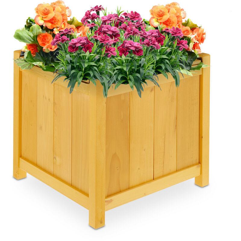 RELAXDAYS Bac à fleur bois, jardinière avec bâche en plastique, carré, HxLxP : 45 x 45 x 45 cm, jardin et balcon, nature