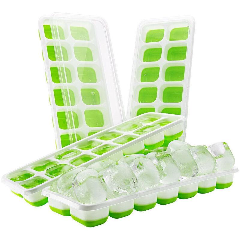 BETTERLIFE Bac à glaçons 4 pièces, silicone facile à libérer et bac à glaçons flexible 14 avec couvercle amovible anti-éclaboussures, certifié LFGB et sans BPA,