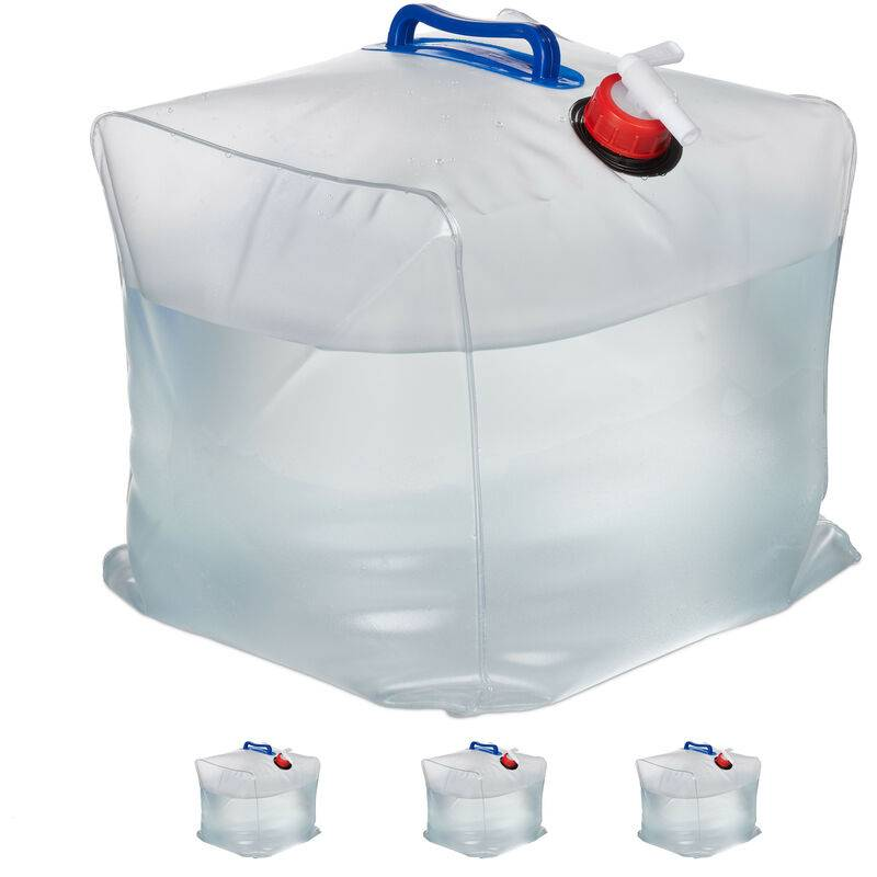 RELAXDAYS Bidons d'eau en lot de 4, 20 L, pliant, robinet, poignées, jerrycan, Plastique sans BPA, transparent