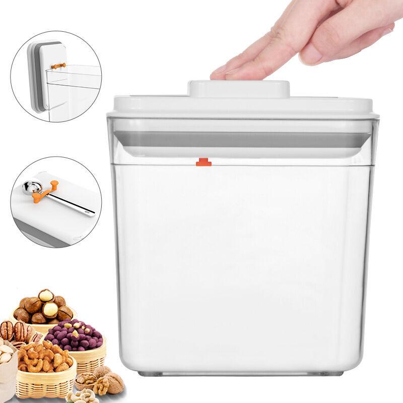 BETTERLIFE Boîtes carrées hermétiques en plastique, boîtes de stockage de céréales, boîtes de rangement de cuisine de casse-croûte, boîtes de lait en poudre