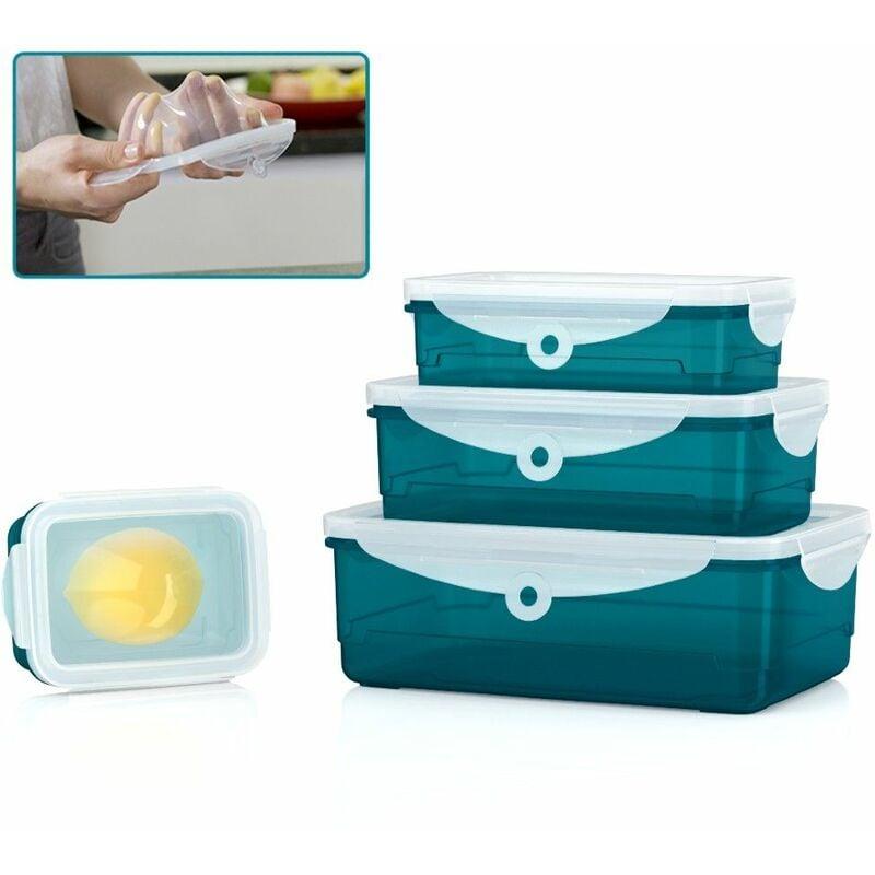 ORGANIZE Lot de 4 boîtes alimentaires Organize - Boite de conservation hermétique - S'adapte à la forme de vos aliments - Sans BPA - Vert - Vert