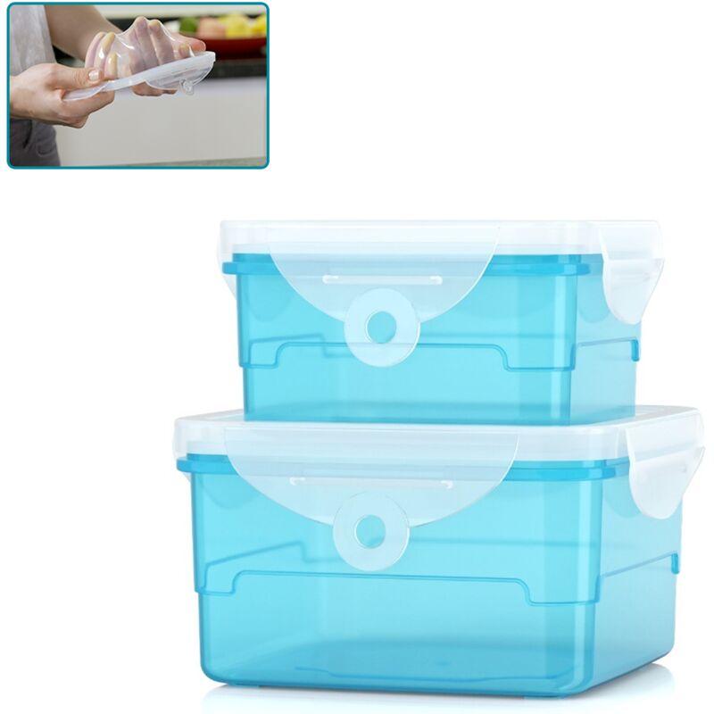 ORGANIZE Lot de 2 boîtes alimentaires Organize - Boite de conservation hermétique - S'adapte à la forme de vos aliments - Sans BPA - Bleu - Bleu