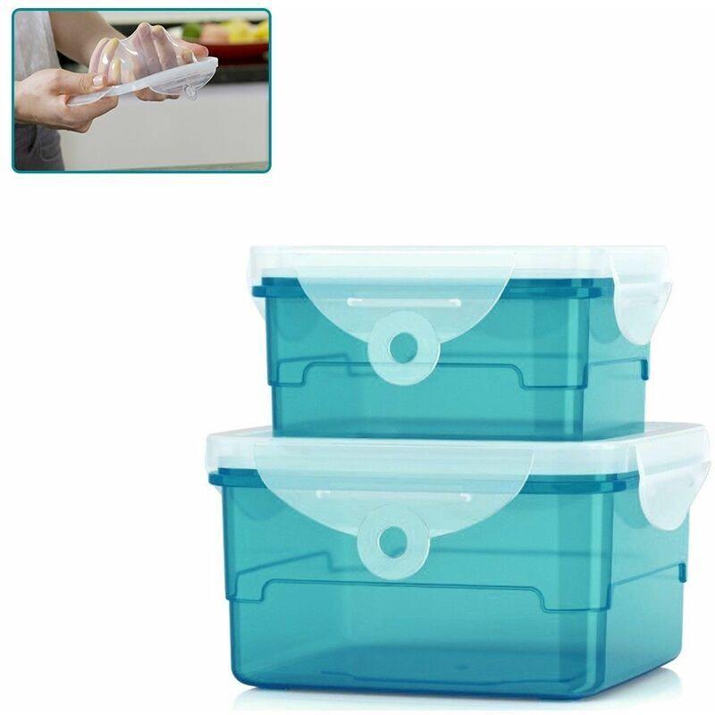ORGANIZE Lot de 2 boîtes alimentaires Organize - Boite de conservation hermétique - S'adapte à la forme de vos aliments - Sans BPA - Vert - Vert