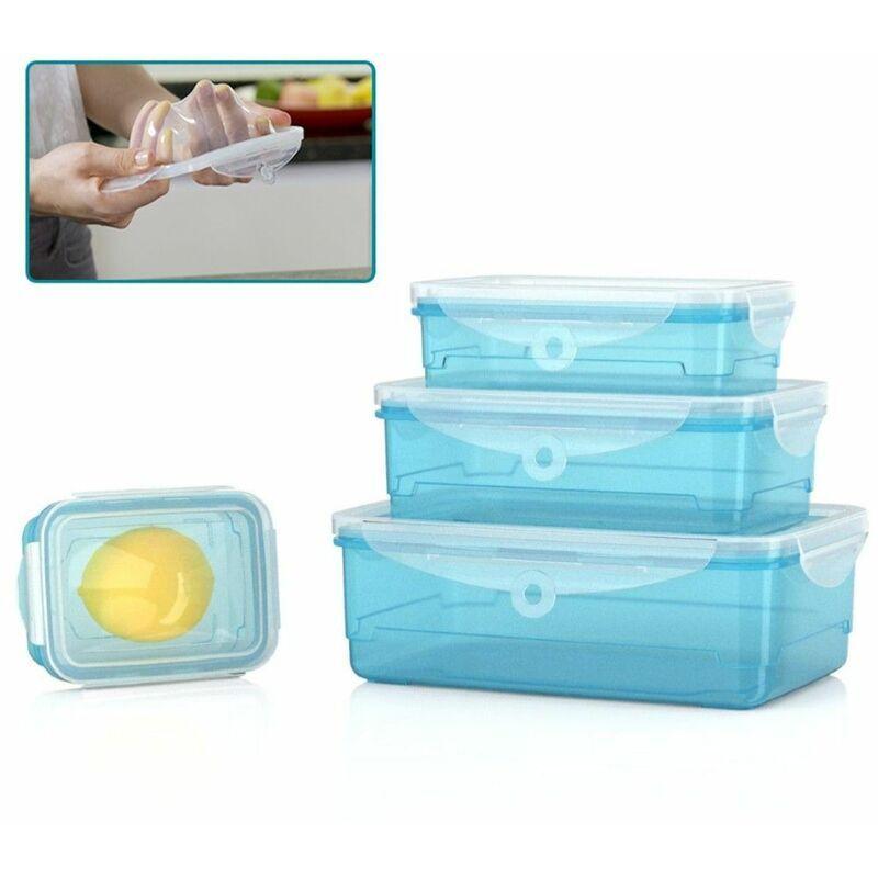 ORGANIZE Lot de 4 boîtes alimentaires Organize - Boite de conservation hermétique - S'adapte à la forme de vos aliments - Sans BPA - Bleu - Bleu