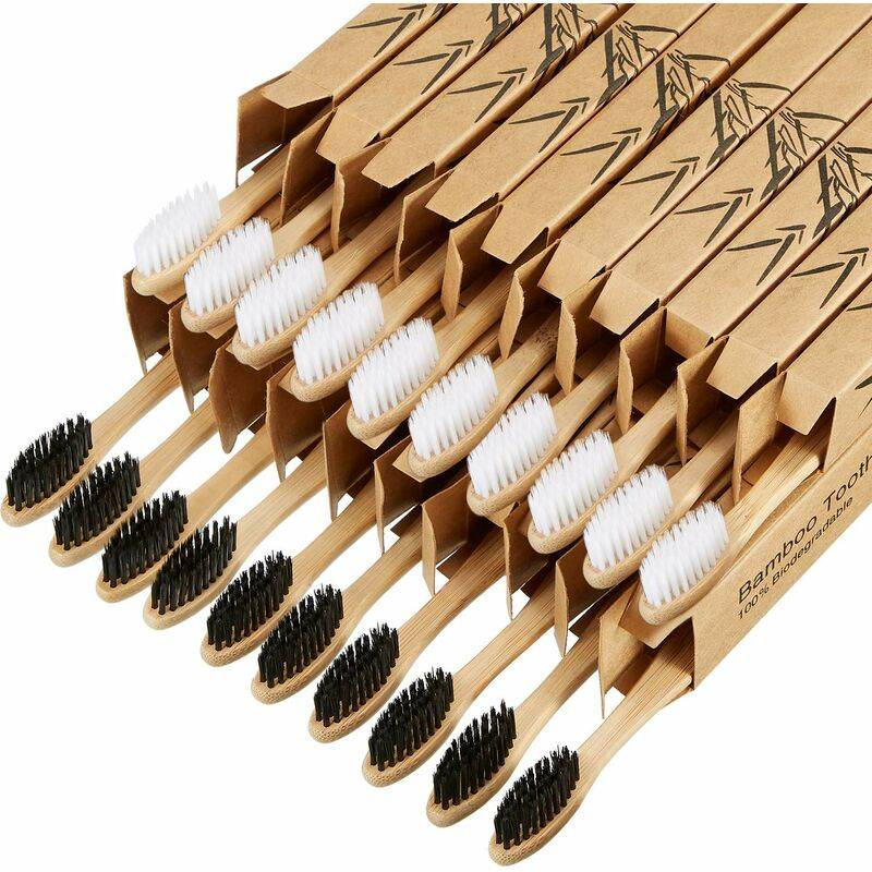 BEARSU Brosses à dents en bambou biodégradables 20 pièces Brosse à dents en bambou au charbon de bois réutilisable Brosses à dents réutilisables naturelles