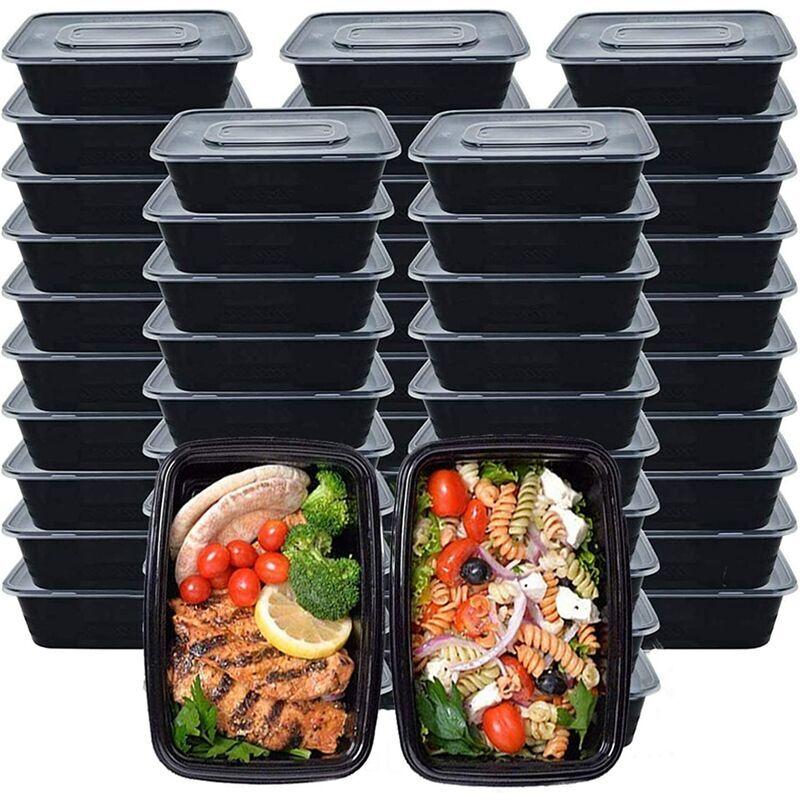 BEARSU Contenants de préparation de repas, paquet de 50 (750 ml/ 26 OZ) contenants de conservation des aliments avec couvercles, boîte à bento jetable boîte