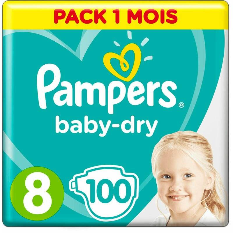 ROGAL Couches jetables pampers baby dry (taille 8) (17+ kg) (reconditionné a+) Rogal