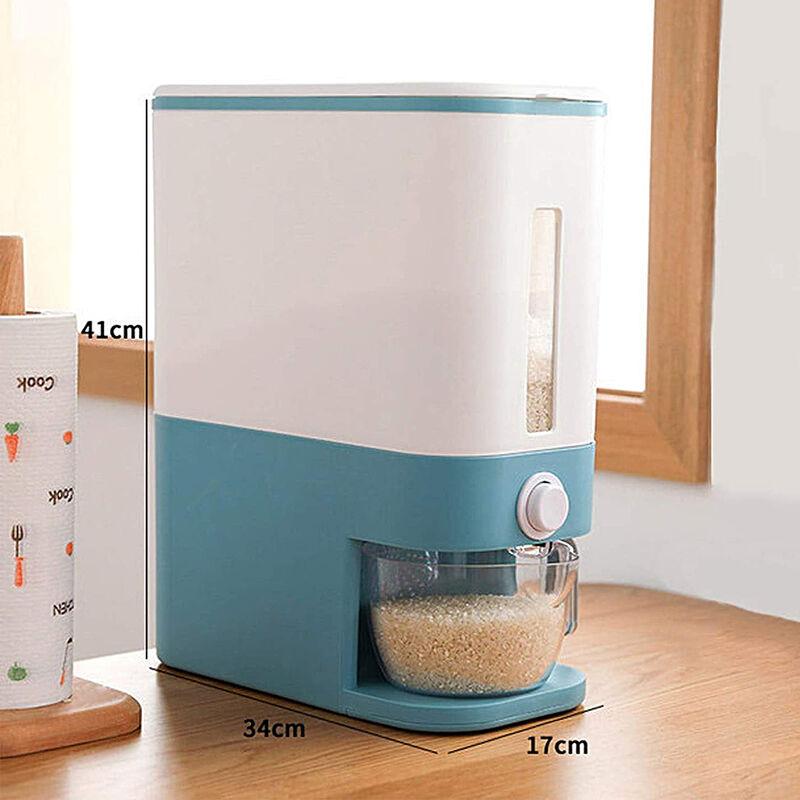 ZEBRAA Distributeur de céréales Auto 10kg Bo?te de rangement Cuisine Cuisine Top Riz Grain 35.5*17.5*42.5 (Bleu)